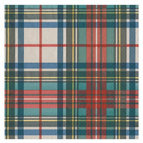 Caspari Paper Luncheon Napkins, Dress Stewart Tartan (16220L)