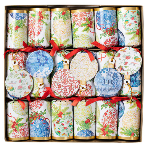 Caspari Celebration Christmas Crackers, Porcelain Ornaments, Box of 6 (CK123.12)