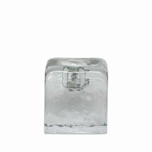 Blenko Ice Glass Candle Holder, Clear Small