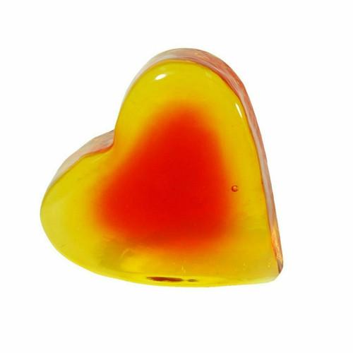 Blenko Paperweight Heart Crystal, Tangerine