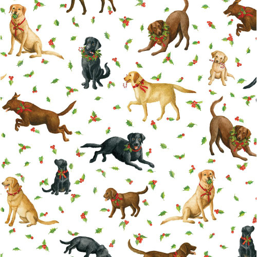 Caspari 8' Continuous Gift Wrap Roll, Christmas Labs (9786RC)
