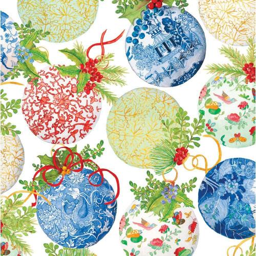 Caspari 8' Continuous Gift Wrap Roll, Porcelain Ornaments (9758RC)