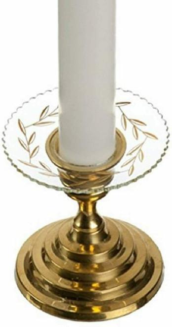 Biedermann & Sons Glass Bobeche Serrated Gold Leaf, Set of 2