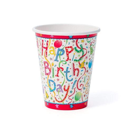 Caspari Paper Cups, Happy Birthday (9100CP)