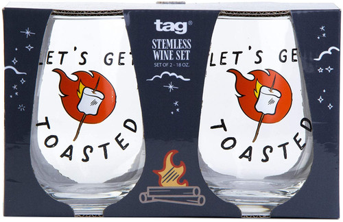 TAG Let's Get Toasted Stemless Wine Glass, Set of 2