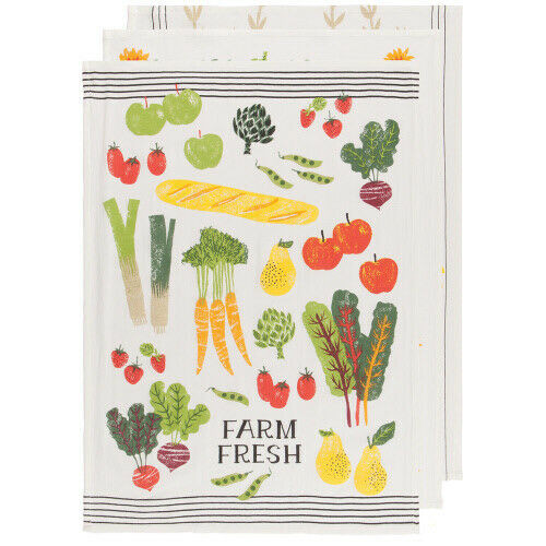Now Designs Farmer's Market Tea Towel, Set of 3