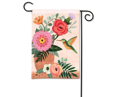 Studio M Terra Floral Hummingbird Garden Flag