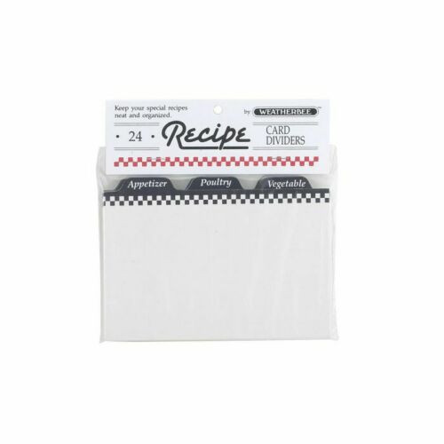 HIC Weatherbee Recipe Cards Dividers, 4 x 6, Set of 24