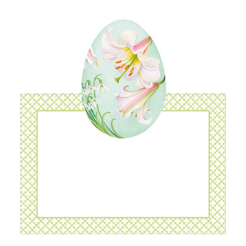 Caspari Die-Cut Place Cards, Floral Decorated Eggs (90900P)