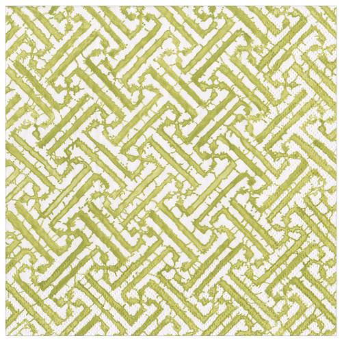 Caspari Paper Beverage Napkins, Fretwork Moss Green (16451C)