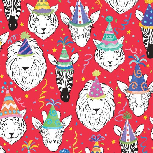 Caspari 5' Continuous Gift Wrap Roll, Safari Birthday Red (10014RSC)