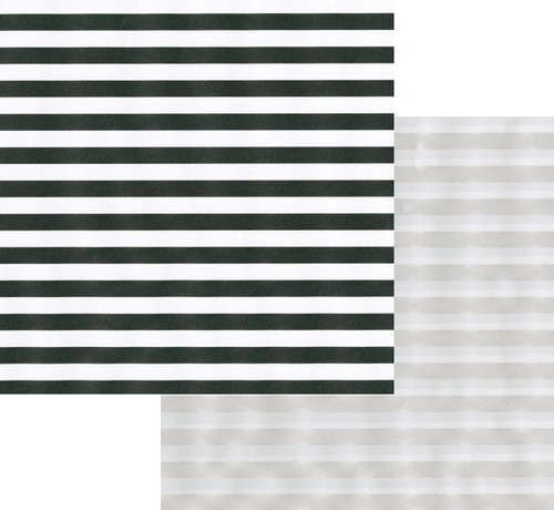 Caspari 5' Continuous Reversible Gift Wrap Roll, Club Stripe Black/Pearl (97271RSC)