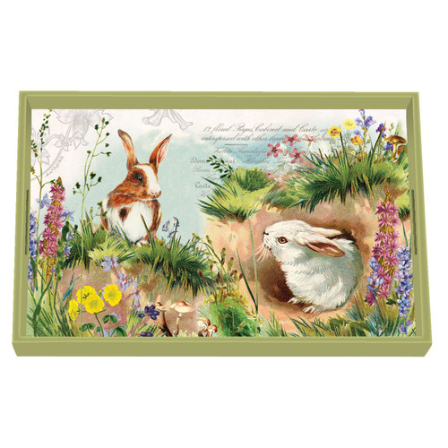 Michel Design Works Decoupage Wooden Vanity Tray, Bunny Hollow
