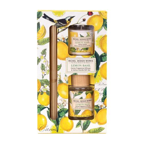 Michel Design Works Fragrance Diffuser & Votive Set, Lemon Basil