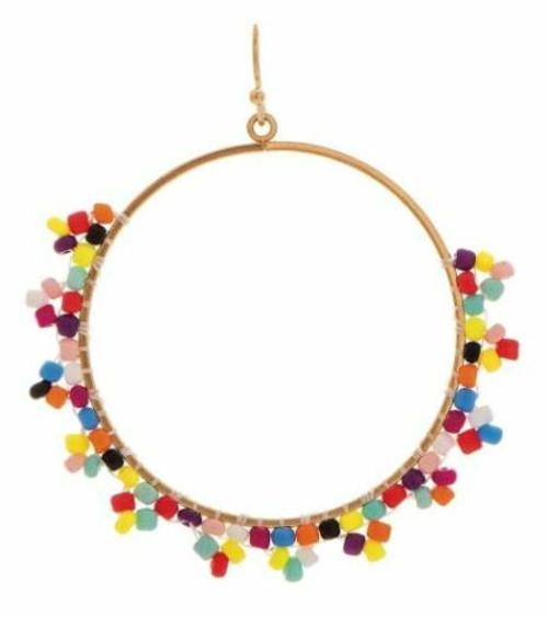 Rain Gold/Multicolored Pyramid Bead Edge Earring