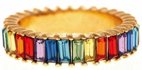 Rain Gold/Rainbow Baguette Crystal Ring