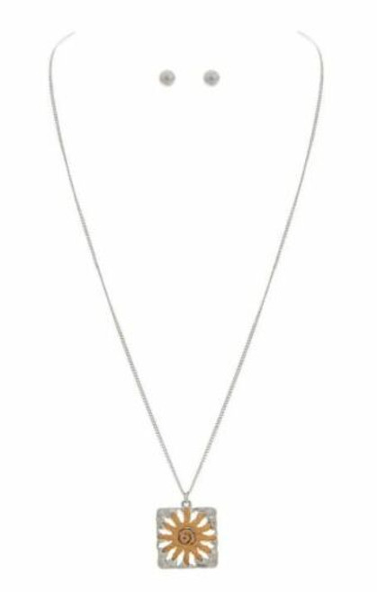 Rain Two Tone Sun Medallion Necklace Set