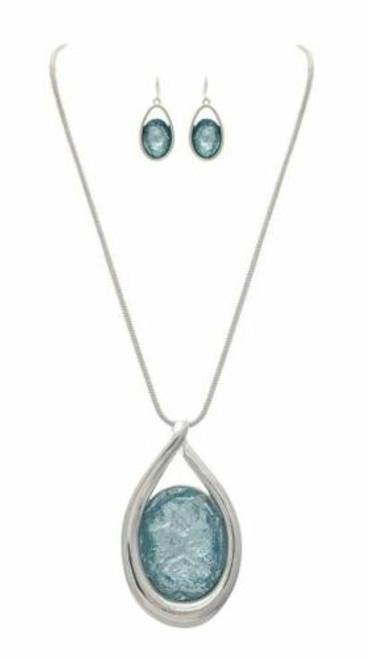 Rain Silver Big Blue Crystal Necklace Set