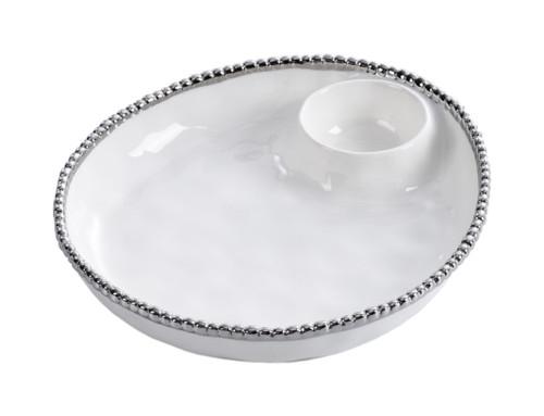 Pampa Bay Salerno Porcelain Dip-It Server, White/Silver