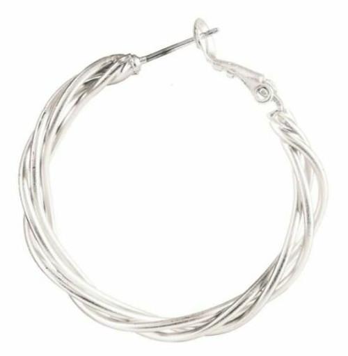 Rain Silver Basket Hoops Earrings