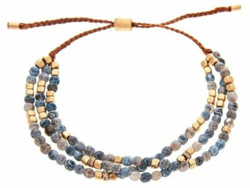 Rain Gold Blue Bead Slide Knot Bracelet
