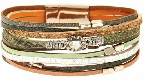 Rain Silver/Green Mixed Media Magnetic Bracelet