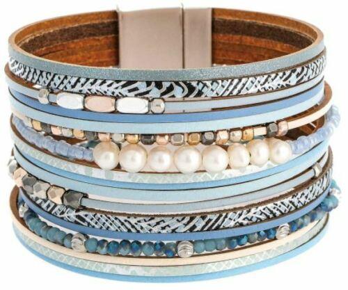 Rain Silver/Blue Pearl Mixed Media Magnetic Bracelet