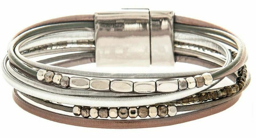 Rain Silver/Grey Mixed Media Magnetic Bracelet