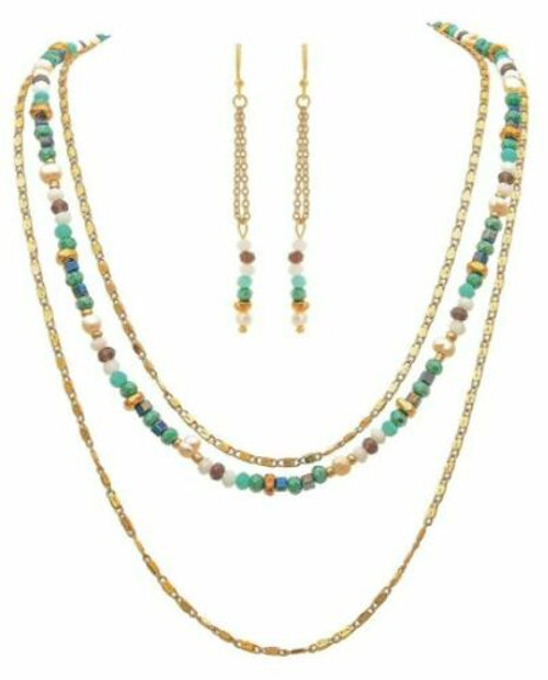 Rain Gold 3 Layer Blue/White Beaded Necklace Set