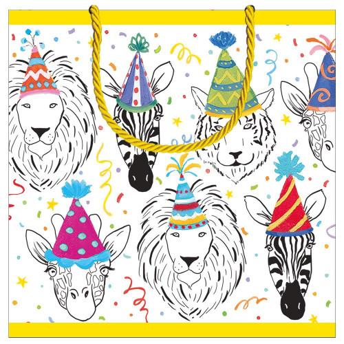Caspari Small Square Gift Bag, Safari Birthday (10014B1.5)