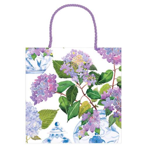 Caspari Small Square Gift Bag, Hydrangeas & Porcelain (10016B1.5)