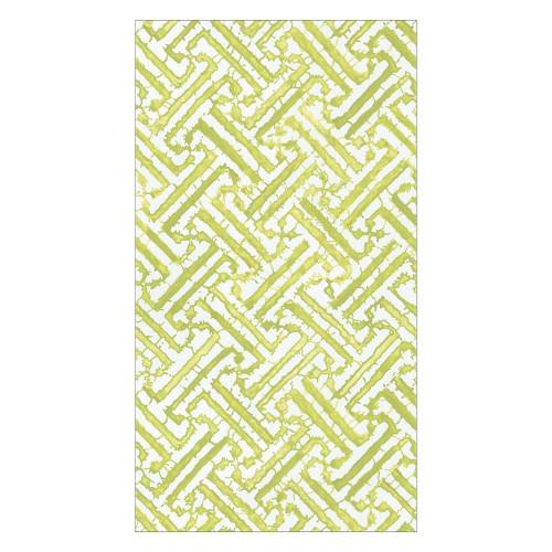 Caspari Paper Guest Towel Napkins, Fretwork Moss Green (16451G)