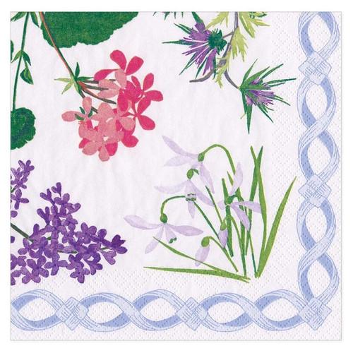 Caspari Paper Beverage Napkins, Mary Delany Flower Mosaics White (16410C)