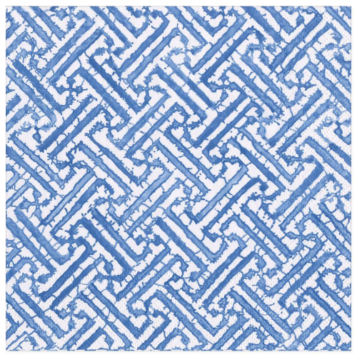 Caspari Paper Beverage Napkins, Fretwork Blue (16450C)