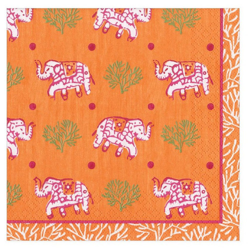 Caspari Paper Beverage Napkins, Batik Elephants Orange (16460C)