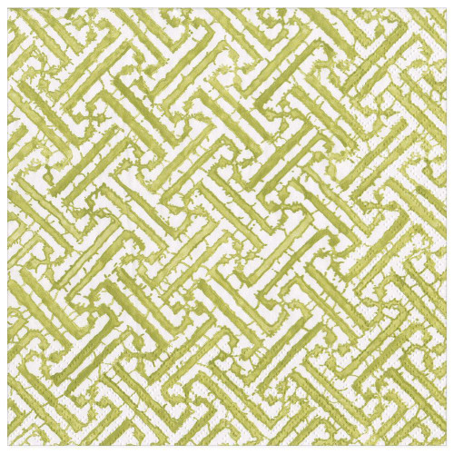 Caspari Paper Dinner Napkins, Fretwork Moss Green (16451D)