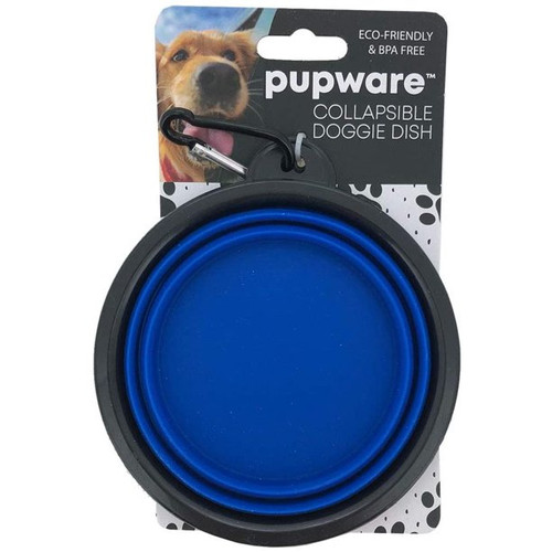 DM Merchandising Collapsible Silicone Dog Bowl, Blue