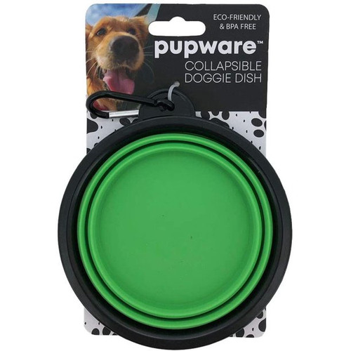 DM Merchandising Collapsible Silicone Dog Bowl, Green