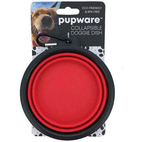 DM Merchandising Collapsible Silicone Dog Bowl, Red