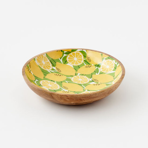 180 Degrees Low Mango Wood Bowl, Lemons