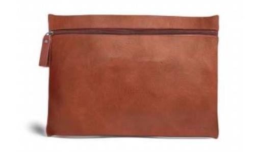 Burano Flat Cosmetic Bag, Cognac