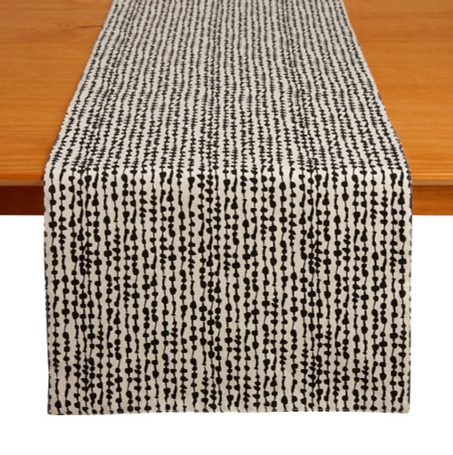 "Tableau 72"" Table Runner, String of Beads Black"