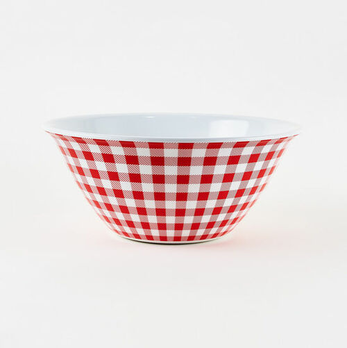 180 Degrees Melamine Bowl, Gingham Red