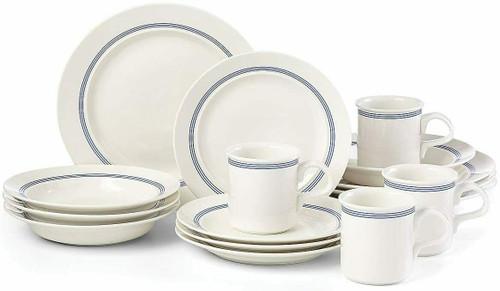 Dansk Café Blanc Stripe 16-piece Dinnerware Set