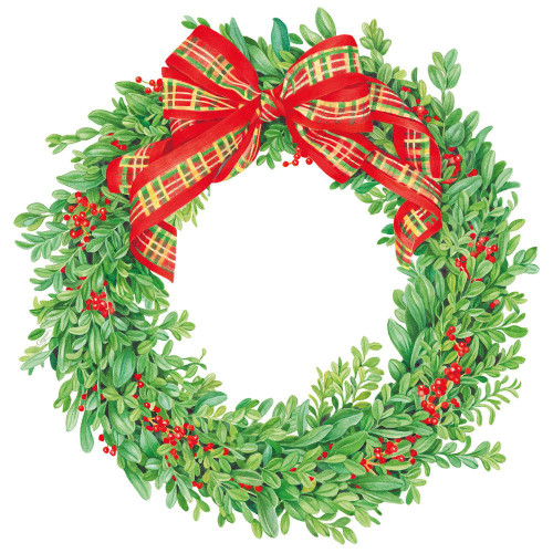 Caspari Die-Cut Coasters, Boxwood & Berries Wreath, Pack of 4 (3056CC)