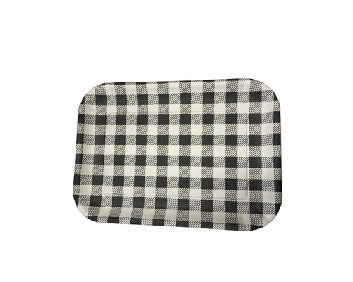 "180 Degrees 9"" x 12"" Melamine Tray, Gingham Black"