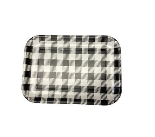 "180 Degrees 7"" x 10"" Melamine Tray, Gingham Black"