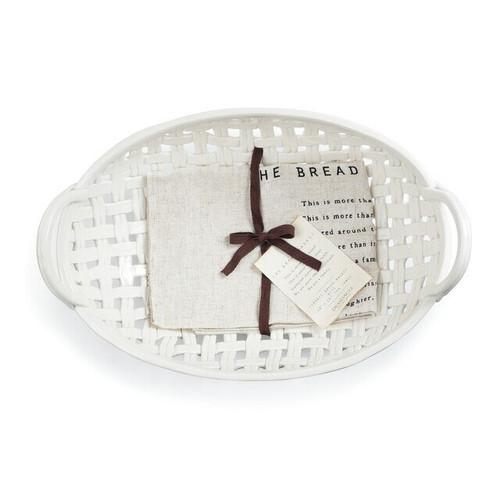 Demdaco Ceramic Bread Basket, White