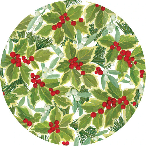 Caspari Die-Cut Coasters, Holly & Mistletoe, Pack of 4 (3057CC)