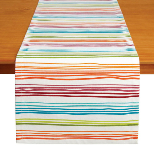 "Tableau 72"" Table Runner, Rainbow Stripe"